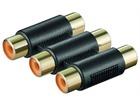 Audio-Adapter vergoldete Kontakte, 3xCinch Kupplung>3xCinch Kupplung