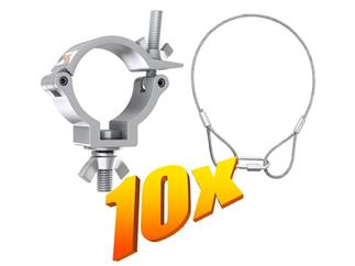 10x Global Truss 812 Half Coupler + 10x Stahlseil 400x3mm