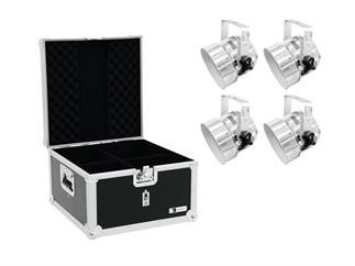 Eurolite Set 4x LED PAR-56 RGB silber + ROADINGER Flightcase EPS-56