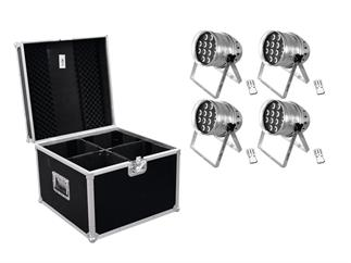 Eurolite Set 4x LED PAR-64 HCL 12x10W siber + Case PRO