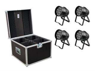 Eurolite Set 4x LED PAR-64 HCL 12x10W schwarz + Case PRO