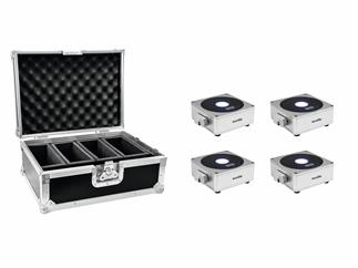Eurolite Set 4x AKKU Flat Light 1 silber + Case