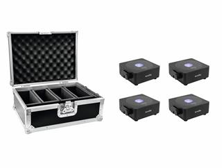 Eurolite Set 4x AKKU Flat Light 1 schwarz + Case