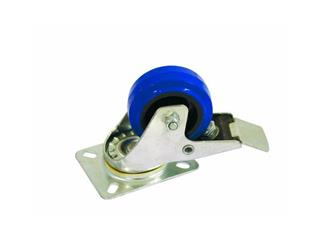 Lenkrolle 80mm blau mit Bremse