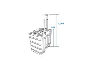 Roadinger Kunststoff-Rack 19, 7HE, DD/Trolley, sw