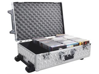 Roadinger CD-Case, poliert, 120 CDs, mit Trolley