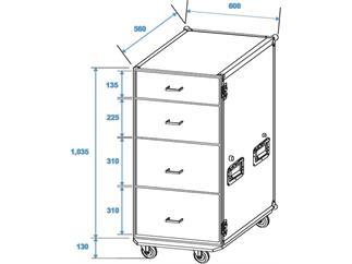 Roadinger Universal-Schubladen-Case DS-1 Rollen
