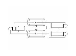 Kabel AK-30 Klinke Stereo/2x Klinke Mono 3m