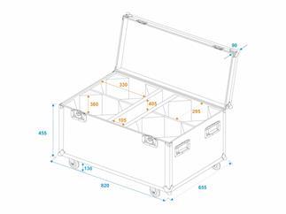 ROADINGER Flightcase 4x LED THA-100F/THA-120PC mit Rollen