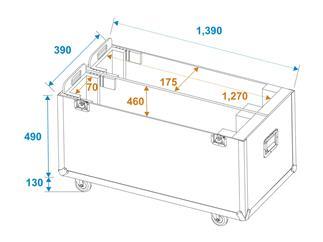 ROADINGER Flightcase 2x LCD ZL55, mit Rollen für 2 LCD-Monitore bis 55 Zoll