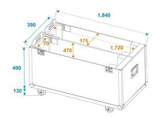 ROADINGER Flightcase 2x LCD ZL70, mit Rollen für 2 LCD-Monitore bis 70 Zoll