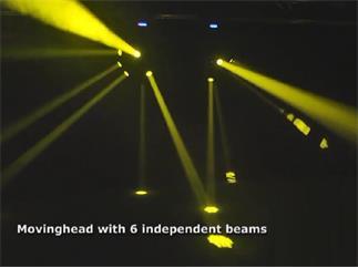Showtec XS-6 Center Beam Effekt - 6 Movingheads auf einem rotierenden Mittelstück, MultiBeamHead