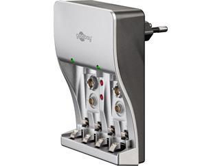 Goobay Plug-in Ladegerät, AAA, AA, 9VBlock, NiMH und NiCd-Akkus, Reiseladegerät, Travelcharger