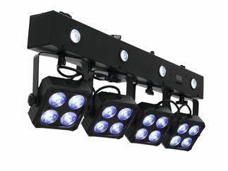 EUROLITELED KLS-180 Kompakt-Lichtset 4 Spots und 4 Strobes, Fernbedienung und Tasche für mobilen Einsatz