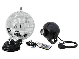 Eurolite Spiegelkugelset 20cm mit LED-RGB-Spot und Fernbedienung