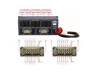 Showtec PSA-3212M Powerdistributor, 6x Schutzkontakt + 2x Multipin