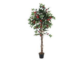 Europalms Kamelienbaum rot mit Topf 180cm, Kunstpflanze