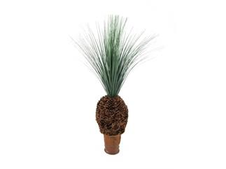 Europalms Graspalme mit Knollenstamm 90cm, Kunstpflanze