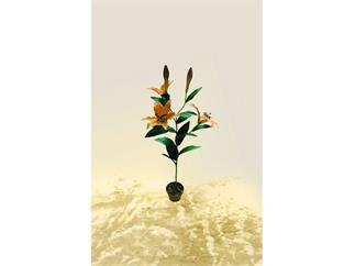 Tigerlilie oran 15Bl./3Blü./2KNOSPEN 97cm, Kunstpflanze