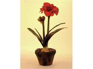 Amaryllis (sehr naturgetreu) im Topf,60cm, Kunstpflanze