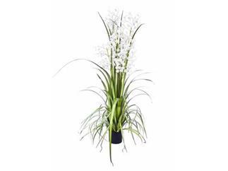 europalms Orchideengras, weiß, 140cm, Kunstpflanze
