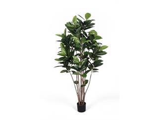 Europalms Gummibaum, 150cm, Kunstpflanze im Zementtopf