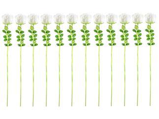 12x Europalms Kristallrose, weiß, 61cm, Kunstpflanze