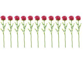 12x Europalms Kristallrose, burgund, 61cm, Kunstpflanze