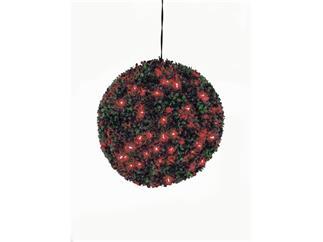 Europalms Buchsbaumkugel 200 LEDs rot ca 40cm, Kunstpflanze
