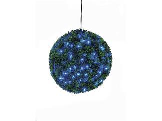 Europalms Buchsbaumkugel 200 LEDs blau ca 40cm, Kunstpflanze