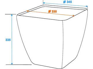 Dekotopf STONA-33, eckig, grau
