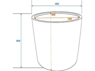 """Übertopf o """"Terracotta-Optik"""" D50/H=50cm"""