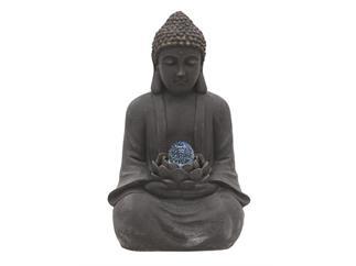 EUROPALMS Buddha Brunnen mit Lotusblüte und Zauberkugel + LEDs