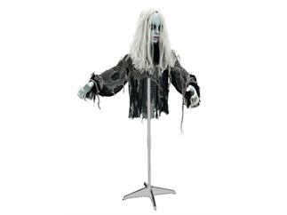 EUROPALMS Europalms Zombie Lady mit drehbarem Kopf - Halloween-Figur Zombiefrau