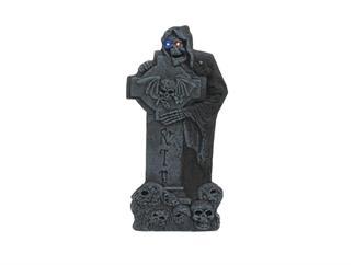 Europalms Halloween Kreuzgrabstein mit Skelettfigur