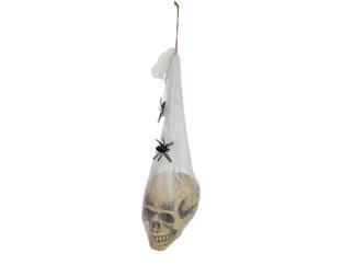 Europalms Halloween Figur Totenkopf im Spinnennetz, 30cm