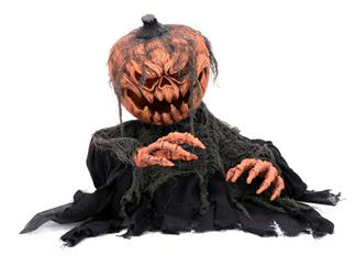 Europalms Halloween Kürbis-Monster, 50cm Animierte Zombiekürbis-Figur mit Licht- und Soundeffekt