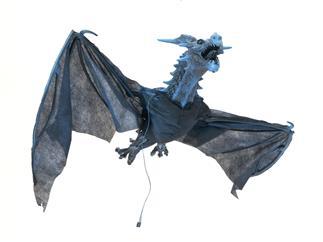Europalms Halloween Flying Dragon Spannweite 120cm - Animierte Drachenfigur zum Aufhängen