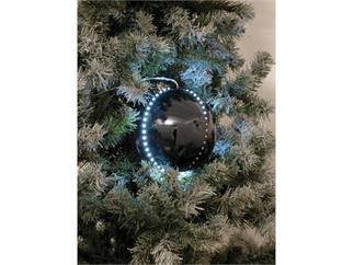 5x Europalms LED Christbaumkugel 8cm, schwarz