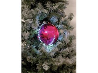 5x Europalms LED Christbaumkugel 8cm, rosa