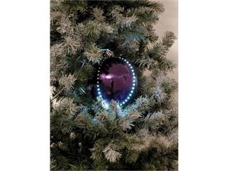 5x Europalms LED Christbaumkugel 8cm, lila