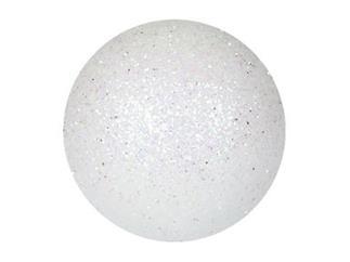 EUROPALMS Dekokugel 6cm, weiß, glitzer (6 Stk)