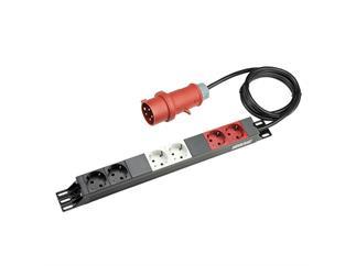 """ah 19"""" Parts 87473 - 19"""" Stromverteiler 1 HE, 16A CEE mit 3 getrennten Stromkreisen"""