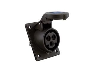 CEE 16A 230V 3p 6h Anbausteckdose gewinkelt, IP44 schwarz