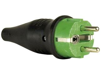 Rubber Schutzkontakt Connector Male 230V Green CEE7/VII
