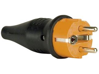 Rubber Schutzkontakt Connector Male 230V Orange CEE7/VII