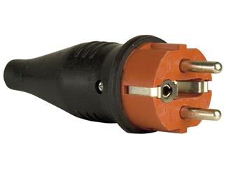 Rubber Schutzkontakt Connector Male 230V Red CEE7/VII