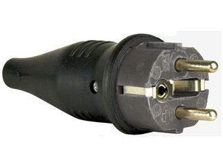 Rubber Schutzkontakt Connector Male 230V Grey CEE7/VII