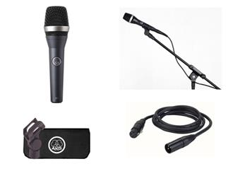 AKG D5 Stage Pack, dynamisches Mikrofon, inkl. Mikrofonständer, Kabel