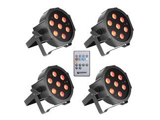 4x Cameo FLAT PAR CAN 7x3W RGB LED schwarz + IR Fernbedienung
